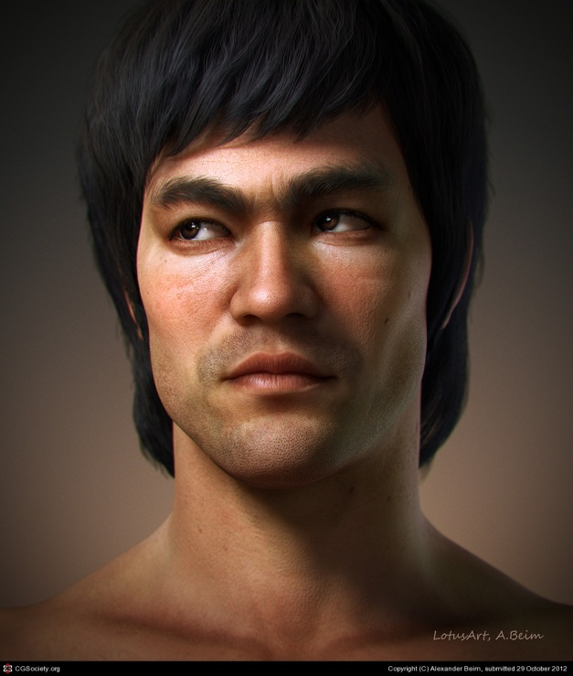 A Z-Brush sculpt of Bruce Lee by Alexander Beim.  The bar on character art is incredibly high. Unless you can compete with this, don't waste your time!
